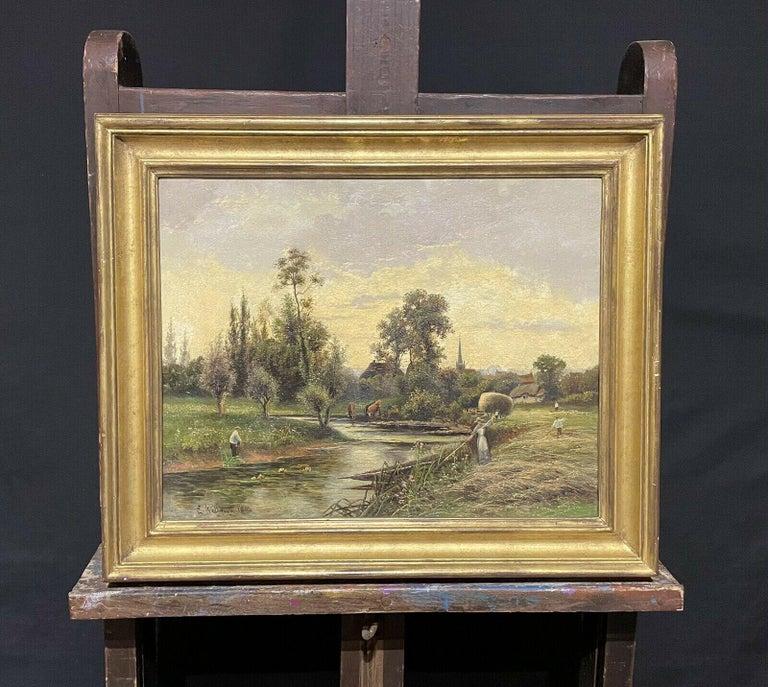 ERNEST WALBOURN (1872-1927) SIGNED ENGLISH OIL FIGURES RIVER LANDSCAPE SUNSET - Brown Figurative Painting by Ernest Walbourn