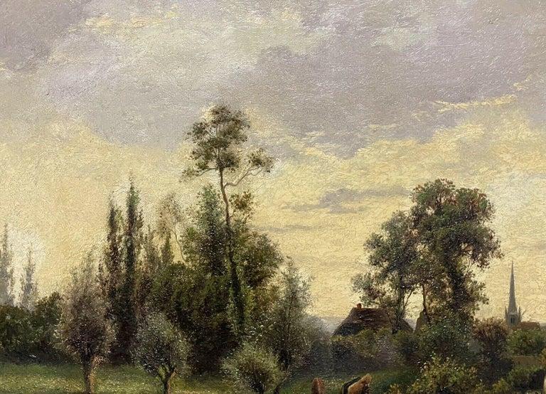 ERNEST WALBOURN (1872-1927) SIGNED ENGLISH OIL FIGURES RIVER LANDSCAPE SUNSET For Sale 1