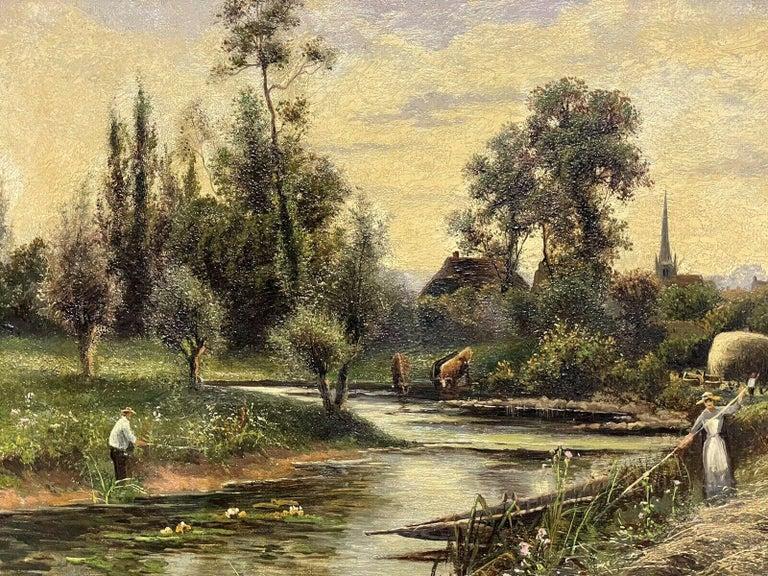 ERNEST WALBOURN (1872-1927) SIGNED ENGLISH OIL FIGURES RIVER LANDSCAPE SUNSET For Sale 2