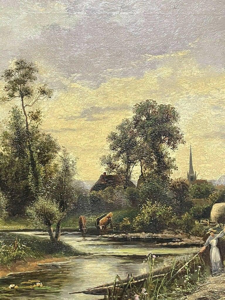 ERNEST WALBOURN (1872-1927) SIGNED ENGLISH OIL FIGURES RIVER LANDSCAPE SUNSET For Sale 4