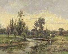 ERNEST WALBOURN (1872-1927) SIGNED ENGLISH OIL FIGURES RIVER LANDSCAPE SUNSET
