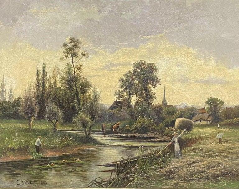 Ernest Walbourn Figurative Painting - ERNEST WALBOURN (1872-1927) SIGNED ENGLISH OIL FIGURES RIVER LANDSCAPE SUNSET