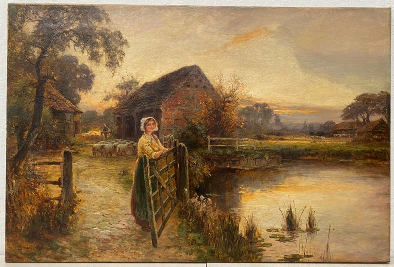 """Ernest Walbourn """"Evening in Sussex"""" Original Painting C.1900 - Brown Landscape Painting by Ernest Walbourn"""