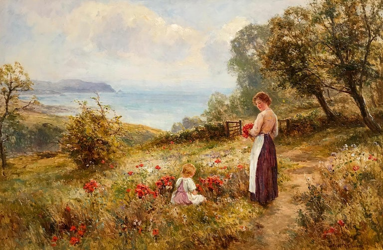 Picking Poppies, Oil on Canvas Painting - Brown Landscape Painting by Ernest Walbourn