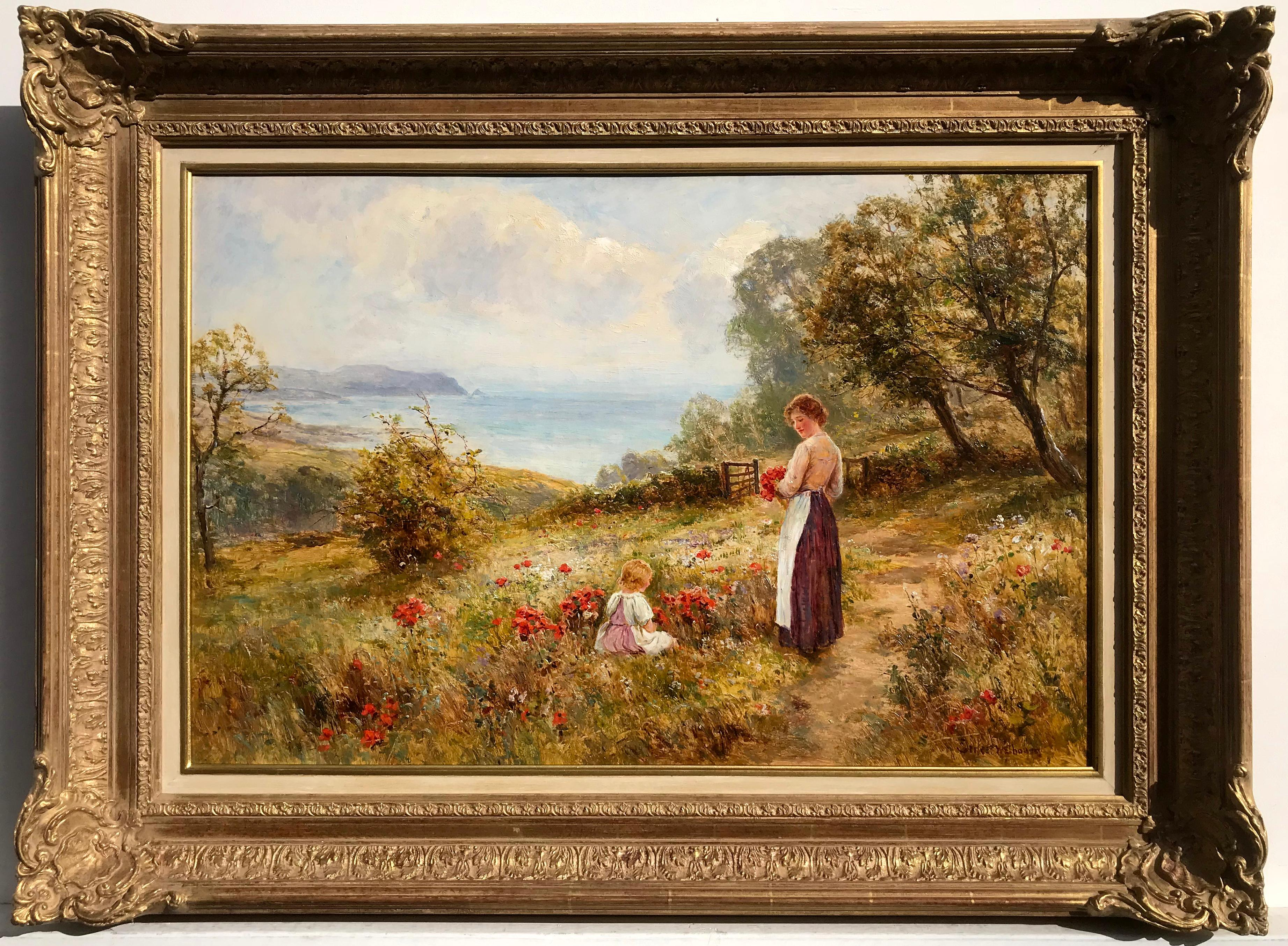 Picking Poppies, Oil on Canvas Painting