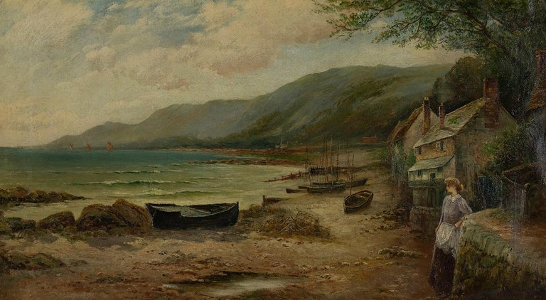 Waiting for the Boats by ERNEST WALBOURN, RBA - 19th century landscape painting - Painting by Ernest Walbourn