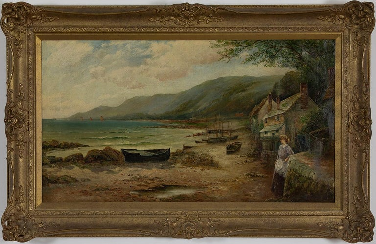 Ernest Walbourn Figurative Painting - Waiting for the Boats by ERNEST WALBOURN, RBA - 19th century landscape painting