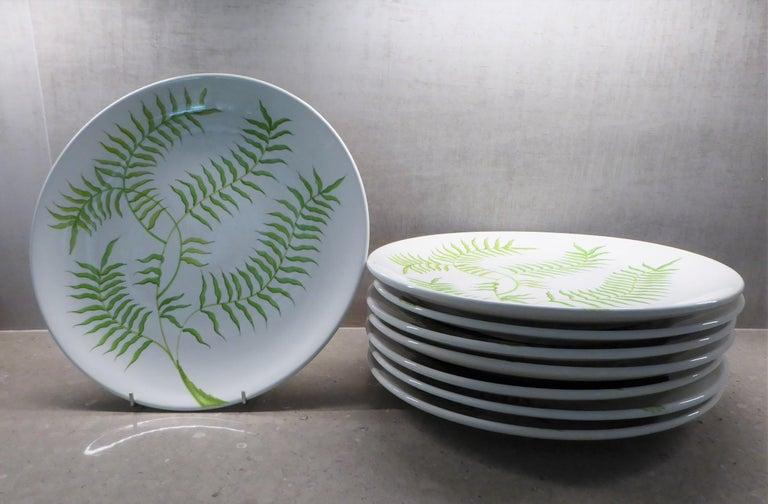 Ernestine Ceramiche 8 Dinner / Serving Plates Fern Pattern Salerno, Italy, 1960s 4