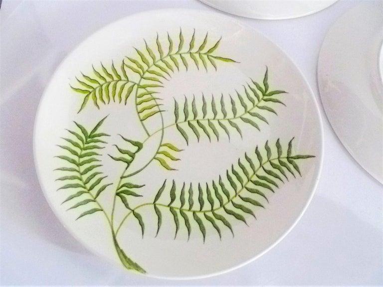 Ernestine Ceramiche 8 Dinner / Serving Plates Fern Pattern Salerno, Italy, 1960s 5
