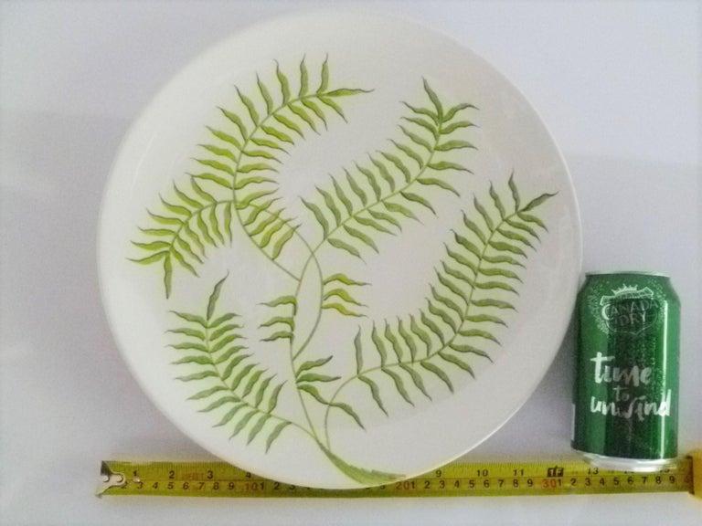 Ernestine Ceramiche 8 Dinner / Serving Plates Fern Pattern Salerno, Italy, 1960s 6