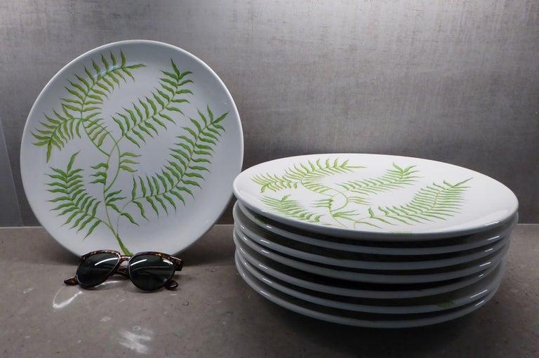 Ernestine Ceramiche 8 Dinner / Serving Plates Fern Pattern Salerno, Italy, 1960s 7