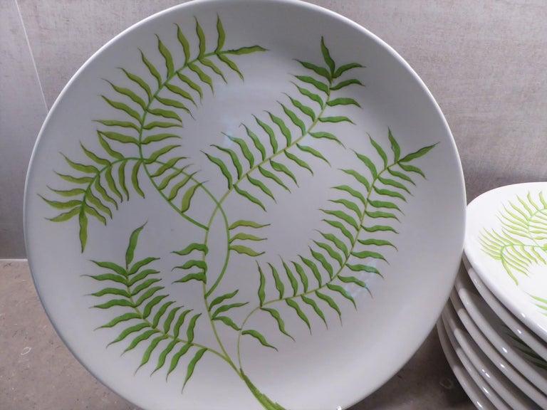 Ernestine Ceramiche 8 Dinner / Serving Plates Fern Pattern Salerno, Italy, 1960s 8