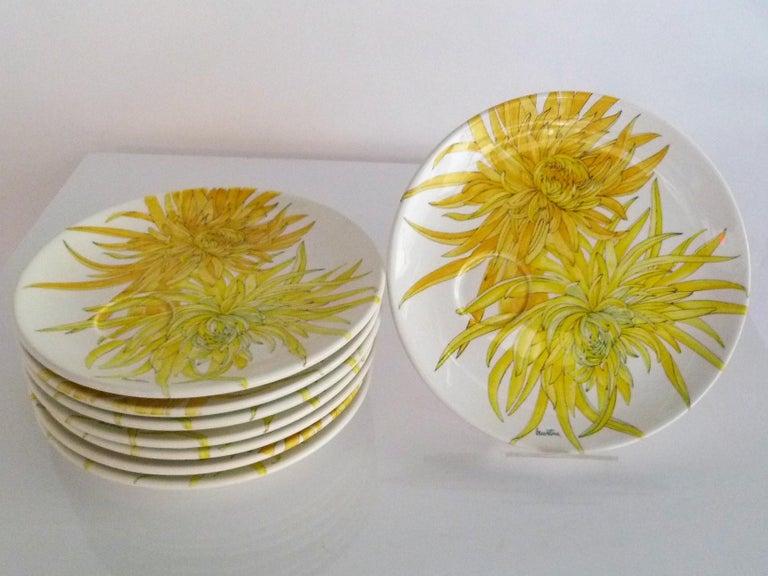 Ernestine Ceramiche 8 Dinner / Serving Plates Fern Pattern Salerno, Italy, 1960s 9