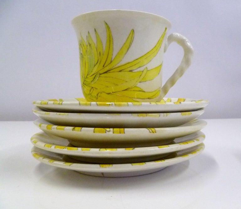 Ernestine Ceramiche 8 Dinner / Serving Plates Fern Pattern Salerno, Italy, 1960s 10