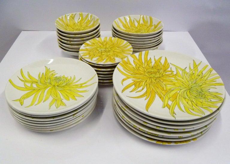 Ernestine Ceramiche 8 Dinner / Serving Plates Fern Pattern Salerno, Italy, 1960s 12