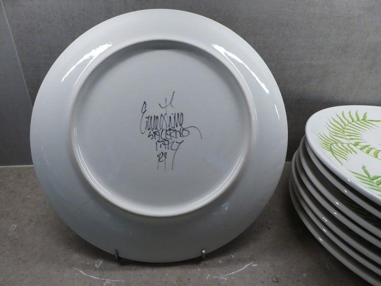 Ernestine Ceramiche 8 Dinner / Serving Plates Fern Pattern Salerno, Italy, 1960s 1