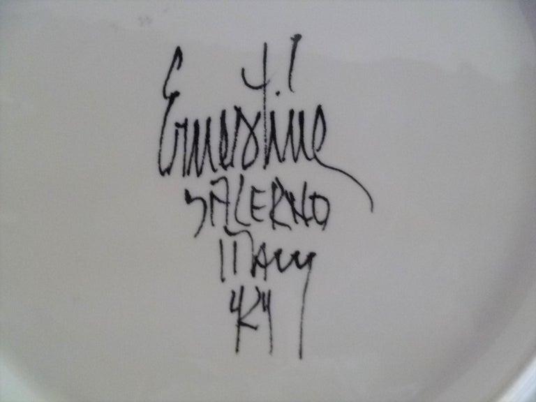 Ernestine Ceramiche 8 Dinner / Serving Plates Fern Pattern Salerno, Italy, 1960s 2