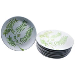 Ernestine Ceramiche 8 Dinner / Serving Plates Fern Pattern Salerno, Italy, 1960s