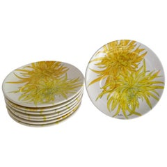 Ernestine Ceramics, Salerno, Italy Chrysanthemum Luncheon Plates Set 8, 1950s