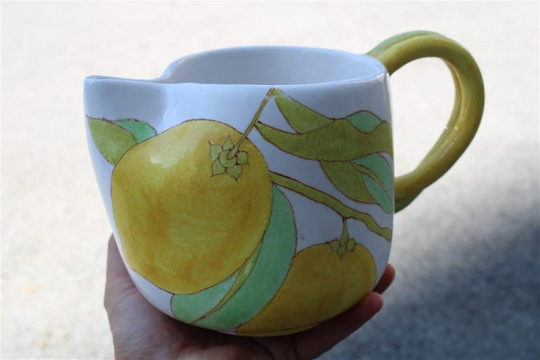 Mid-20th Century Ernestine Italian Ceramic Jug in Majolica 1960 with Lemon For Sale