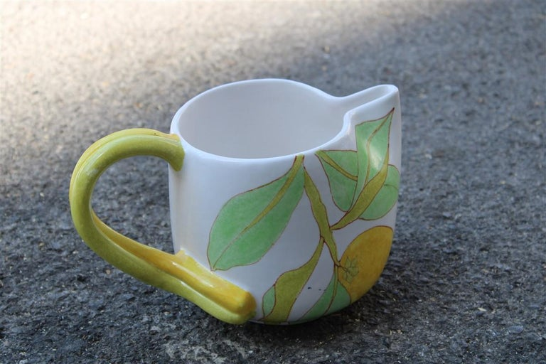 Ernestine Italian Ceramic Jug in Majolica 1960 with Lemon For Sale 2