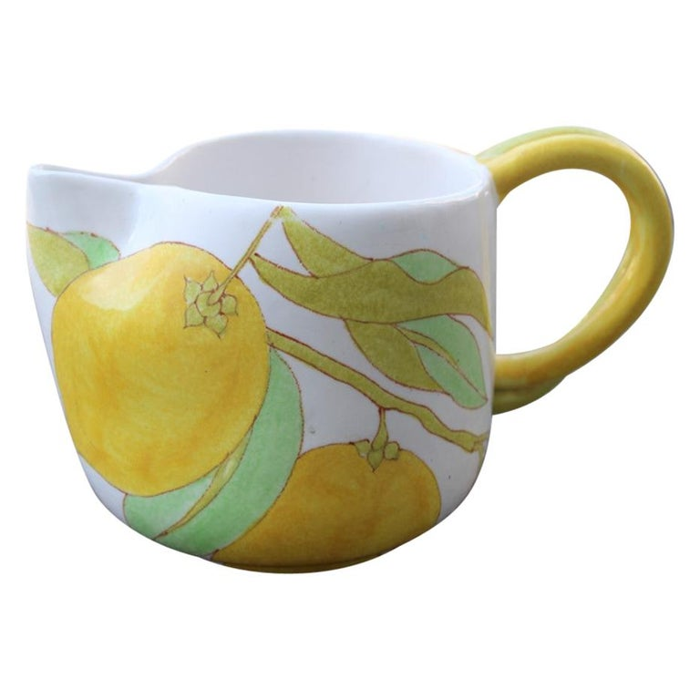 Ernestine Italian Ceramic Jug in Majolica 1960 with Lemon For Sale