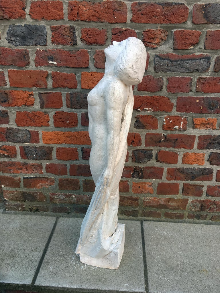 French Ernestine Sirine-Real, Large Art Deco Statue in Plaster, circa 1925 For Sale