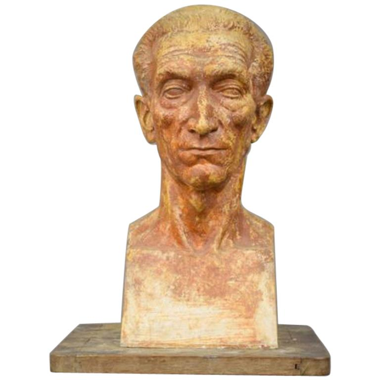 """Ernestine Sirine-Real """"Bust of a Man"""", Signed Plaster For Sale"""