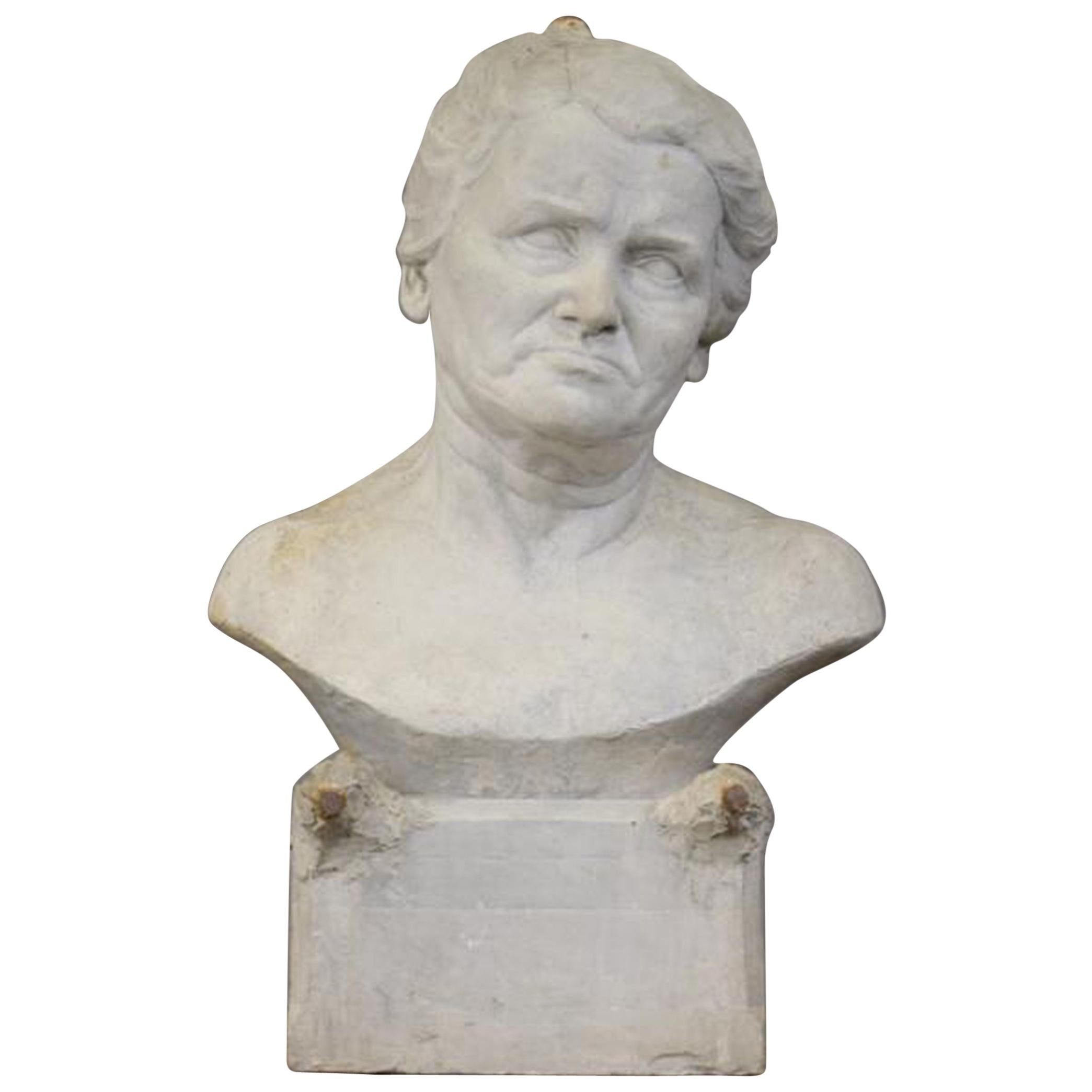 """Ernestine Sirine-Real """"Bust of a Woman"""", Unsigned Plaster"""