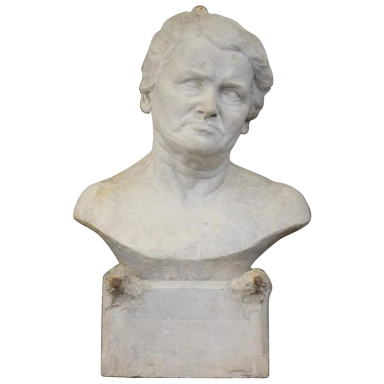 """Ernestine Sirine-Real """"Bust of a Woman"""", Unsigned Plaster For Sale"""
