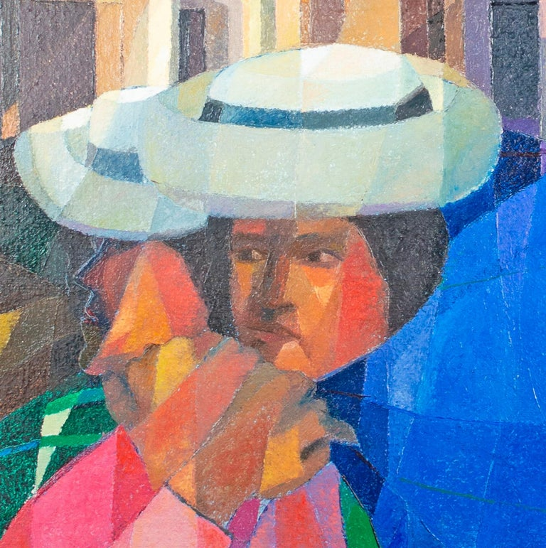 This painting is one of the series of cubist cityscapes that the Peruvian artist Ernesto Gutierrez was experimenting with in the early part of his career. The entire composition is constructed of a lattice of crystalline planes of color. This