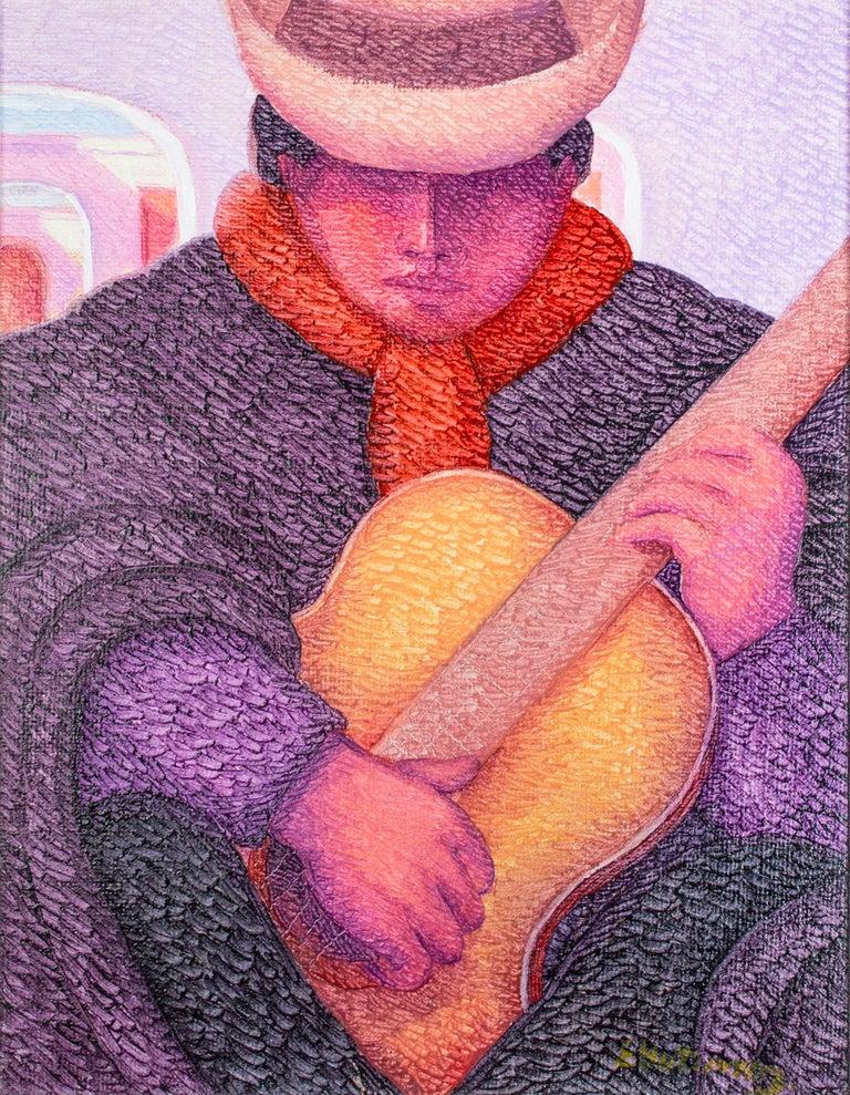'El Guitarrista (The Guitarist)' original oil painting by Ernesto Gutierrez - Painting by Ernesto Gutierrez (b.1941)