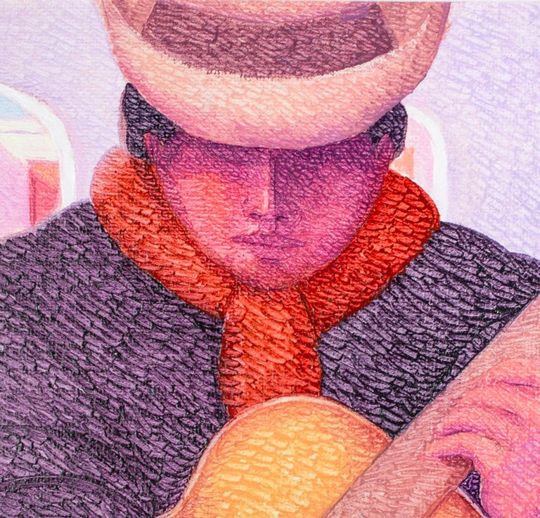 The present painting is a small but impactful work by the Peruvian artist Ernesto Gutierrez. The image is tightly cropped around the figure of a guitar player, their hands in the act of strumming the strings. The figure wears a dark poncho and red
