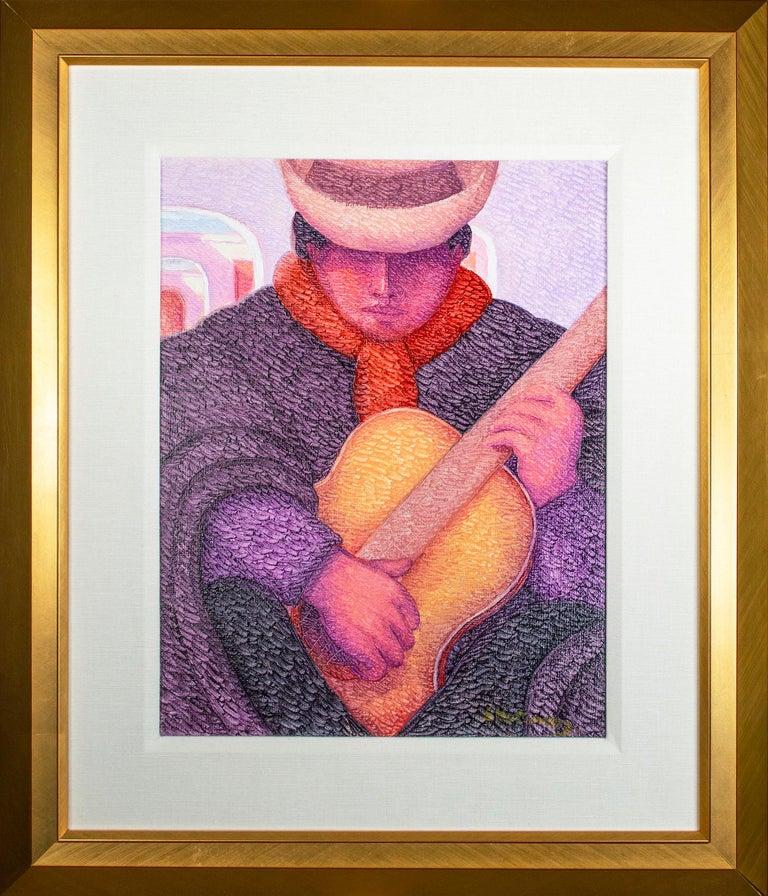 Ernesto Gutierrez (b.1941) Figurative Painting - 'El Guitarrista (The Guitarist)' original oil painting by Ernesto Gutierrez