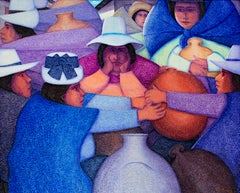 """""""Feria #5,"""" Oil on Jute Fiesta Scene signed by Ernesto Gutierrez"""