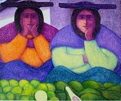 """""""Fruteras,"""" Oil on Jute signed by Ernesto Gutierrez"""