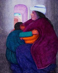 """Isidora y su Hija,"" Oil Painting on Jute signed by Ernesto Gutierrez"