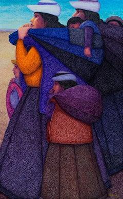 """La Familia,"" Oil Painting on Jute signed by Ernesto Gutierrez"
