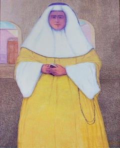 """La Monja, Hermana Orcotura, Peru,"" Oil Painting on Jute by Ernesto Gutierrez"