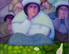"""Limones y Paltas (Limes and Avocados),"" oil on jute by Ernesto Gutierrez"