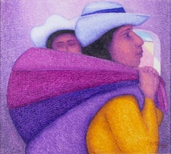"""Madre Joven,"" Oil Painting on Jute signed by Ernesto Gutierrez"