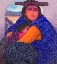 """Madre Joven (Young Mother),"" Oil Painting on Jute signed by Ernesto Gutierrez"