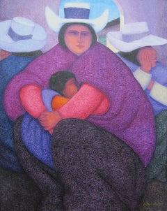 """""""Mother of Cajamarca,"""" Oil on Jute signed by Ernesto Gutierrez"""