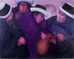 """Mujeres de mi Pueblo,"" Oil Painting on Jute signed by Ernesto Gutierrez"