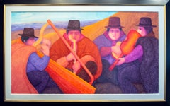 'Músicos Andes' original signed oil painting by Ernesto Gutierrez
