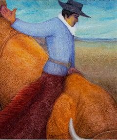 """Rodeo - Southwest,"" Oil on Jute signed by Ernesto Gutierrez"