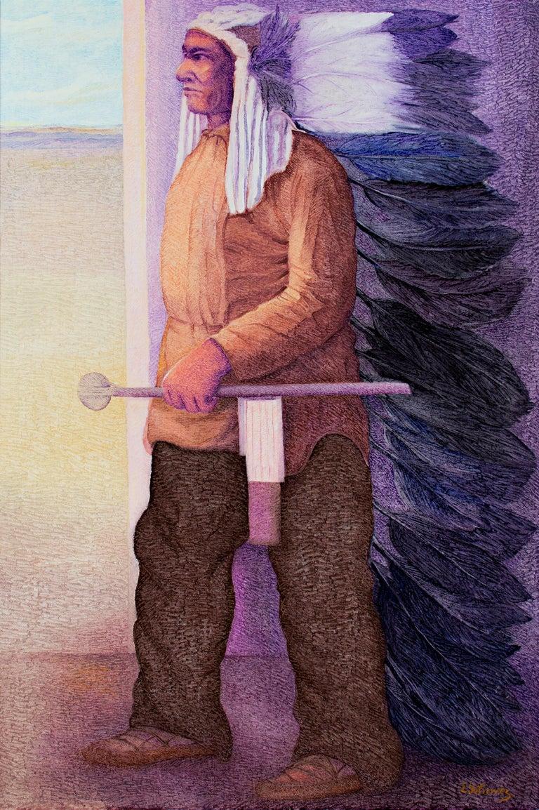 "Ernesto Gutierrez (b.1941) Portrait Painting - ""Sitting Bull, Dakota,"" Oil on Canvas signed by Ernesto Gutierrez"