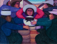 """Sombrero Blanco,"" Oil on Jute Gathering of People signed by Ernesto Gutierrez"