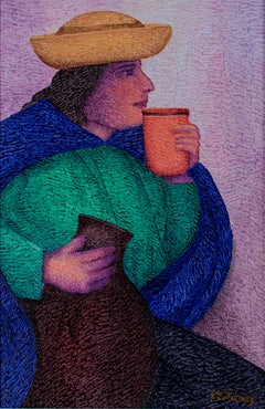 """Tomando Chicha,"" oil painting on jute by Ernesto Gutierrez"