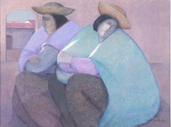 """""""Two Women Resting,"""" Oil Painting on Jute signed by Ernesto Gutierrez"""
